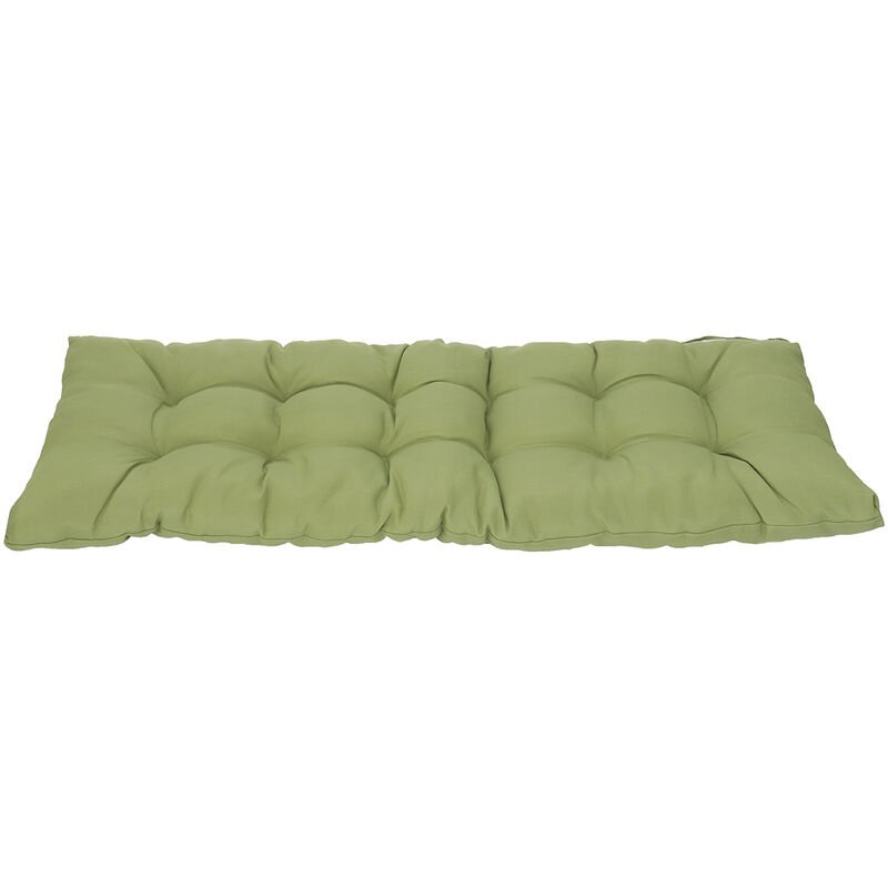 Image of 1.5M Garden Patio 3 Seater Tufted Bench Cushion Pad Green - KINGSO