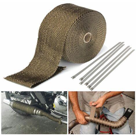 15M Titane Isolant Thermique Bande Moto Tuyau d'Echappement tissu wrap 1.5*50mm