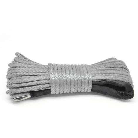 15m Winch Corde 7700lb Pull Ligne cable en nylon de remorquage corde Car Wash Entretien Chaine pour VTT UTV hors route, gris