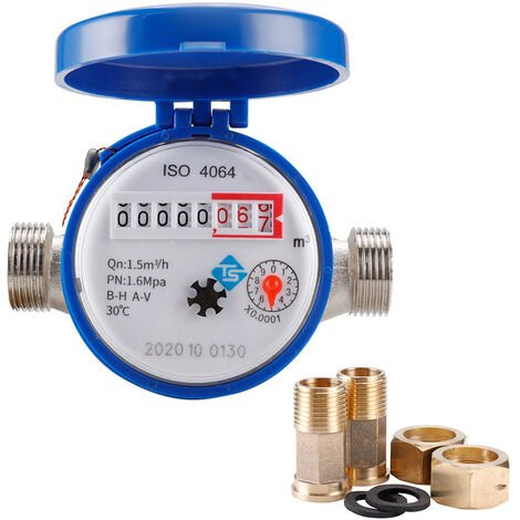 """main image of """"15mm 1/2 Inch Cold Water Meter Read with Fittings 360 Adjustable Rotary Counter Water Measuring Meter for Garden & Home Usage,model:Blue"""""""
