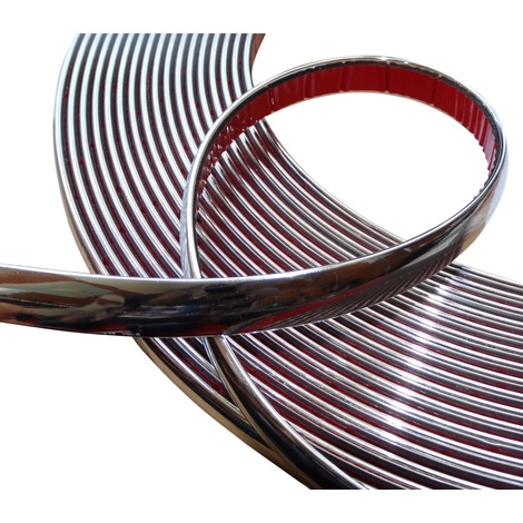 15mm 4.5m Bande baguette adhésive couleur chrome nickel argent