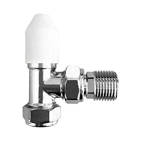 15mm Angled Manual Valve White & Chrome Towel Rail Designer Radiator Modern