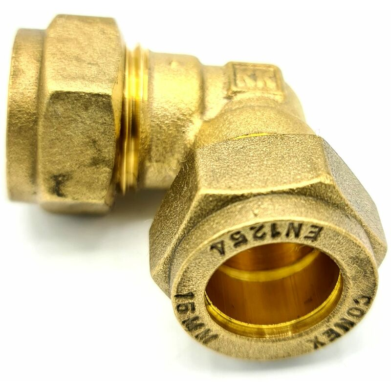 Image of 15mm x 15mm Elbow Coupler Adaptor Brass Compression Fittings Straight Connector
