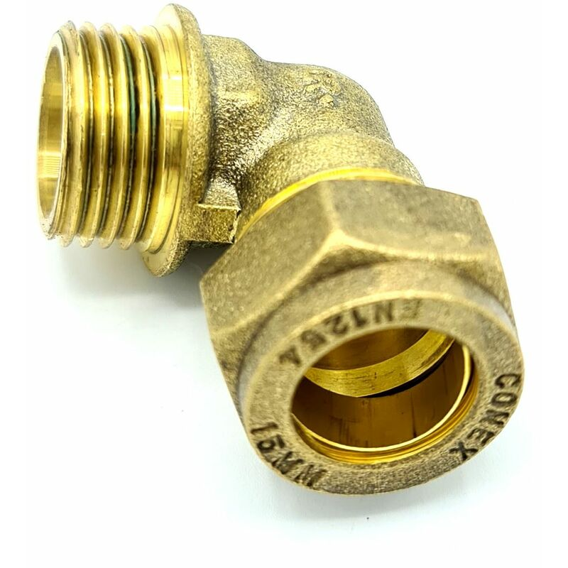 Image of 15mm x G1/2 Male Elbow Adaptor Brass Compression Fittings Straight Connector