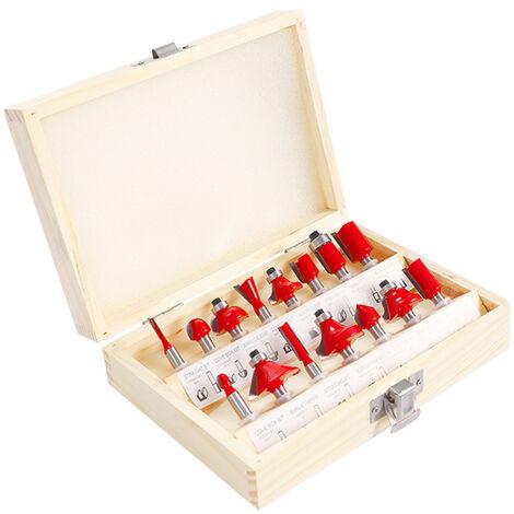 15pcs fresa de carburo router bit puesto cana Molino de la madera de grabado del ajuste de talla de herramientas de corte, multicolor, 1 #