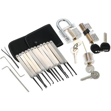 15pcs Lockpicking Set Kit Werkzeug mit drei transparenten Praxis-Trainings-Padlock-Verschluss fur Schlosser Anfanger und Profis