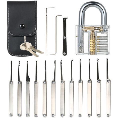 15pcs Lockpicking Set Kit Werkzeug mit Transparent-Praxis-Training Padlock-Verschluss fur Schlosser Anfanger und Profis