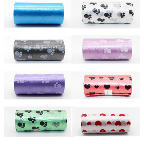 15pcs/roll Pet Dog Waste Poop Bags Random Color
