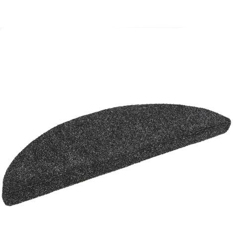 15pcs Self-adhesive Stair Mats Needle Punch 54x16x4cm Dark Grey