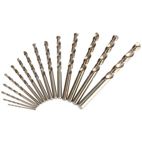15PCS / Set, Juego de brocas helicoidales de cobalto M35 de vastago recto de 1.5-10mm