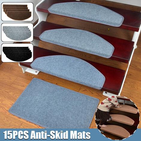 15Pcs / Set Stair Mats Non-slip Mats Safety Mats Warm Magic Floor Mat Buckle Patch Pads 65x24cm (Gray)
