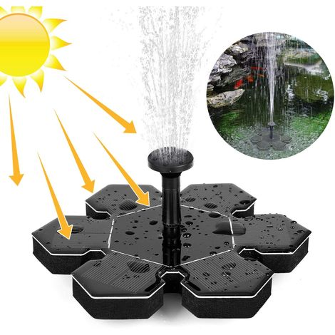 1.5W Solar Fountain Pump for Bird Bath, Portable Floating Solar Powered Water Fountain Pump for Birdbath Garden Backyard Pond Pool Outdoor