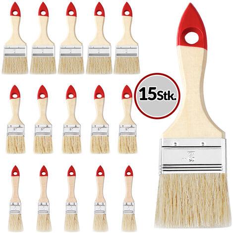 15x Malerpinsel Set | 3 verschiedene Größen | Naturholz/rot | Pinsel Set Flachpinsel Lasurpinsel Satz Pinselset Pinselsatz