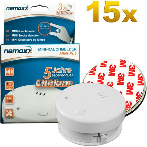 15x Nemaxx Mini-FL2 Rauchmelder - hochwertiger & diskreter Mini Brandmelder Feuermelder Rauchwarnmelder mit Lithium Batterie - nach DIN EN 14604 + 15x Nemaxx Magnetbefestigung