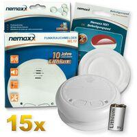 15x Nemaxx WL10 detector de humo inalámbrico - con 10 años de batería de lítio- de acuerdo con la norma DIN EN 14604 + 15x NX1 Pad de fijación de soporte