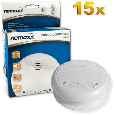 15x Nemaxx WL2 détecteur de fumée sans fil - de haute qualité réseaux couplés radio détecteur d'incendie - selon la norme DIN EN 14604