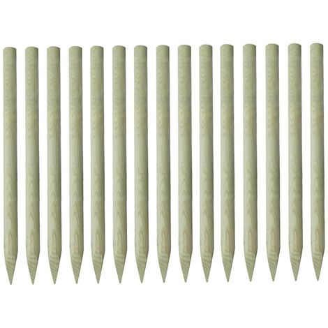 15x Postes puntiagudos de valla pino impregnado 4x150 cm