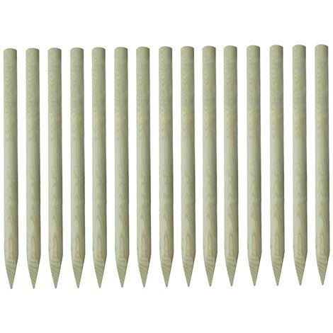 15x Postes puntiagudos de valla pino impregnado 4x150 cm - Marrón
