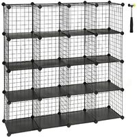 16 Cube Metal Wire Storage Organiser, DIY Closet Cabinet and Modular Shelving Grids, Wire Mesh Shelves and Rack, Black/White