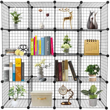 16-Cube Organizer Cube Storage Storage Shelves Wire Cube Storage Origami Shelves Metal Grid Multifunction Shelving Unit Modular Cubbies Organizer Bookcase