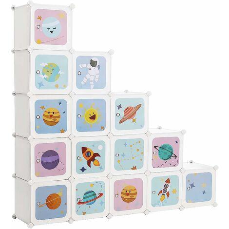 16-Cube Storage Unit, Shoe Rack, DIY Shelving System, Stackable Cubes, PP Plastic Shelf, Wardrobe, Closet Divider, for Bedroom, Office, Black/Translucent White