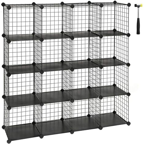 16 Cubes De Rangement En Treillis Metallique Placard Armoire Avec Etageres Modulaires Noir Lpi44h