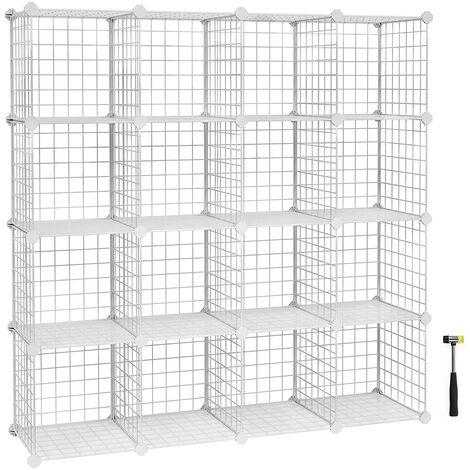 16 Cubes de Rangement en Treillis Metallique, Placard, Armoire avec Étageres Modulaires, Noir/Blanc
