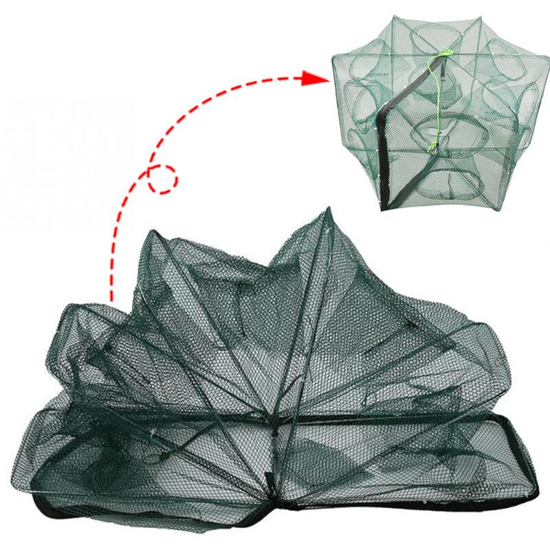 Image of 12 Holes Automatic Fishing Net Shrimp Cage Nylon Foldable Crab Fish Trap