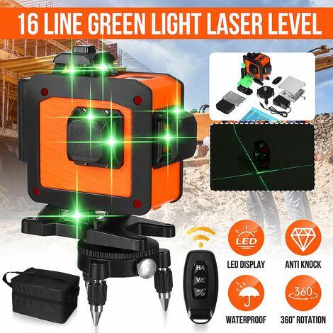 16 lignes 360 croix verticale horizontale 4D lumière verte niveau laser mesure auto-nivelante faisceau laser super puissant (4D 16 lignes (prise UE))