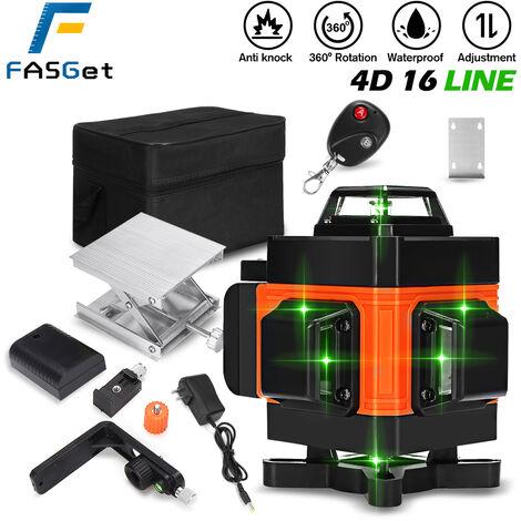 16 lignes 4D 360 ° niveau laser vert auto-nivelant LCD horizontal en croix
