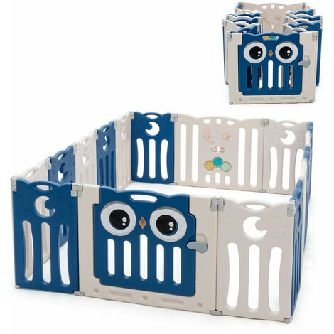 16 Panel Baby Infant Playpen Kids Folding Play Yard Toddler Activity Center