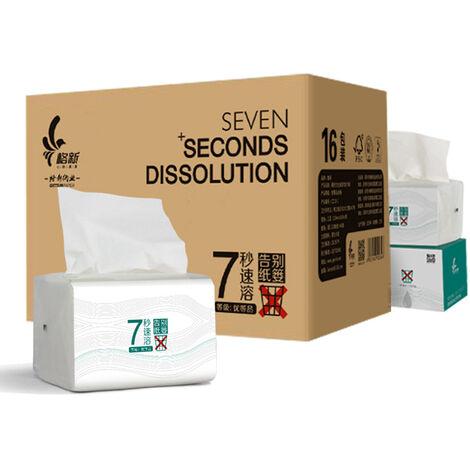 16 paquets d'essuie-tout a 3 couches a plis multiples Essuie-tout en papier hygienique Papier hygienique a dissolution rapide Doux et resistant,modele:Blanc