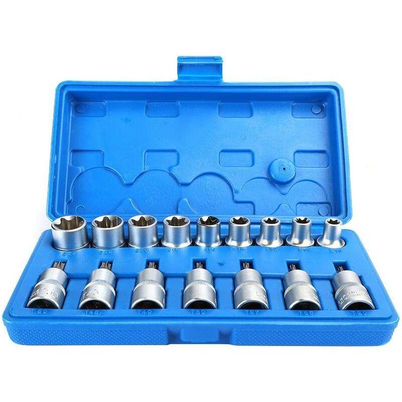 Briday - 16 Piece 1/2 Inch Chrome Vanadium Steel Hex Socket Kit Hex Socket Set Star Sleeve T Type Male E Type Female Repair Tool Accessories