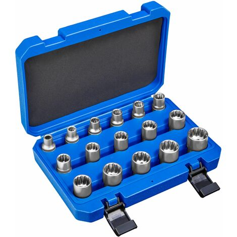 16-Piece External Multi-Tooth Socket Set - socket set, torx, tools - blue