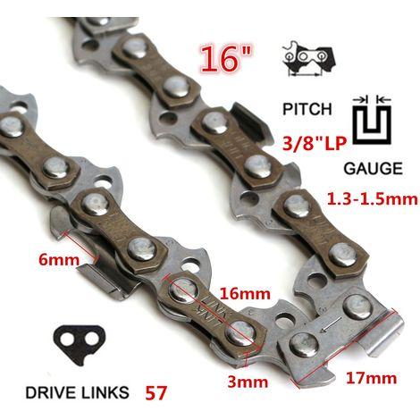 16 pouce 57 Maillons 3/8 Chaîne à Tronçonneuse Sice Essence 1,3mm 1,5mm Métal Outil de Rechange pour Qualcast GCS400 PC40