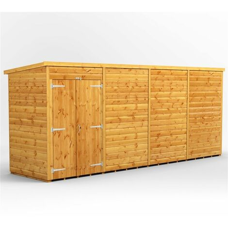 16 x 4 Premium Tongue and Groove Pent Shed - Double Doors - Windowless - 12mm Tongue and Groove Floor and Roof