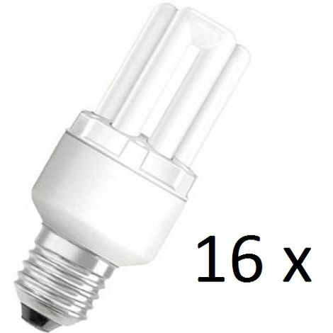 16 x Osram Dulux Star Superstar 8W/825 220-240V E27 Stick Lamp Light Bulb