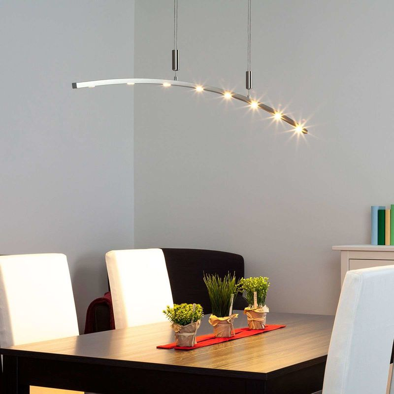 Image of LED Ceiling Light 'Falo' dimmable (modern) in Silver made of Aluminium (8 light sources, A+) from Lucande | pendant lighting, lamp, hanging lamp,