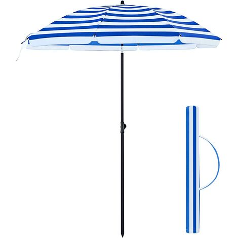 Ø 160 cm Parasol, Beach Umbrella, UV50+, Sun Protection, Octagonal Polyester Canopy, Fibreglass Ribs, Tilt Mechanism, Carry Bag, Blue and White Strips/Red and White Strips