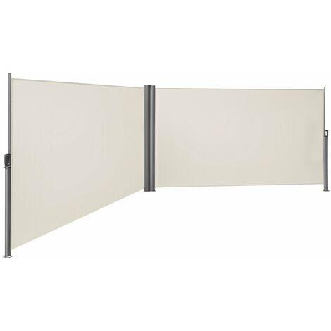160 x 600cm Cortavientos Toldo bilateral Pantalla protectora de intimidad Sombrilla exterior Retráctil, Beige/ Gris antracita