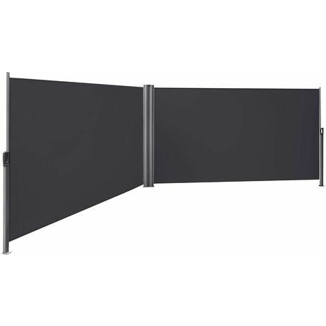 """main image of """"160 x 600cm Cortavientos Toldo bilateral Pantalla protectora de intimidad Sombrilla exterior Retráctil, Beige/ Gris antracita"""""""