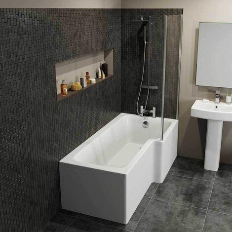 "main image of ""1600 L Shaped Right Hand Shower Bath Bathtub Front Panel Acrylic Bathroom White"""