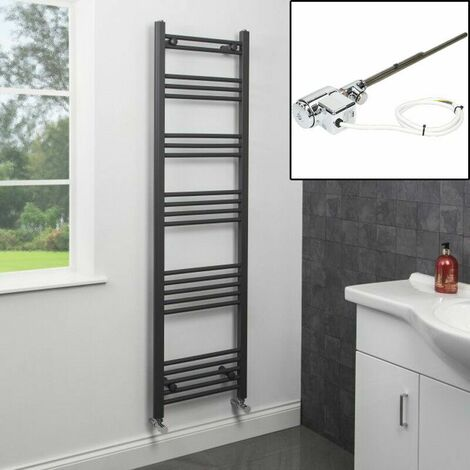 1600 x 450mm Heated Towel Rail Dual Fuel Thermostatic Anthracite Flat 22 Rails