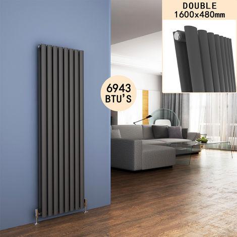 1600 x 480 mm Modern Vertical Column Designer Radiator Anthracite Oval Double Panel Radiator Heater