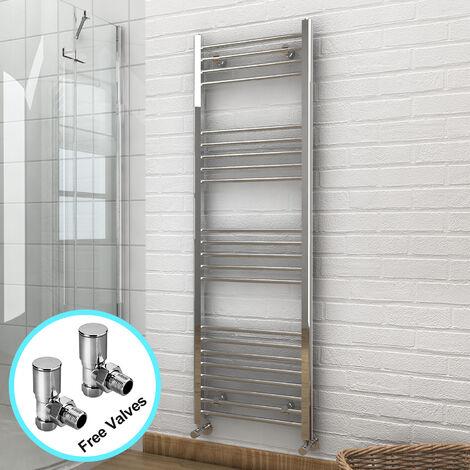 1600 x 500 mm Straight Towel Rail Radiator Bathroom Heated Towel Radiator + Angled Radiator Valves