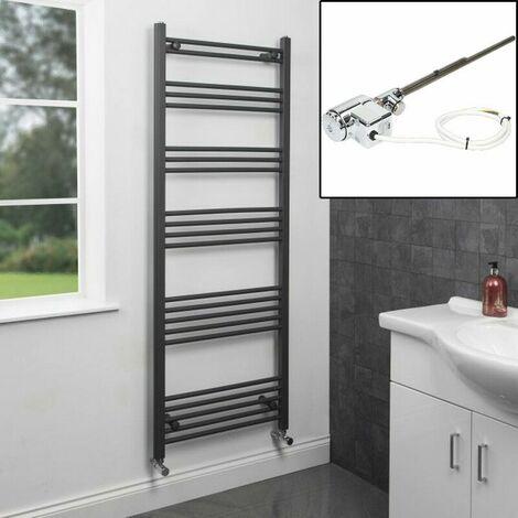 1600 x 600mm Heated Towel Rail Dual Fuel Thermostatic Anthracite Flat 22 Rails