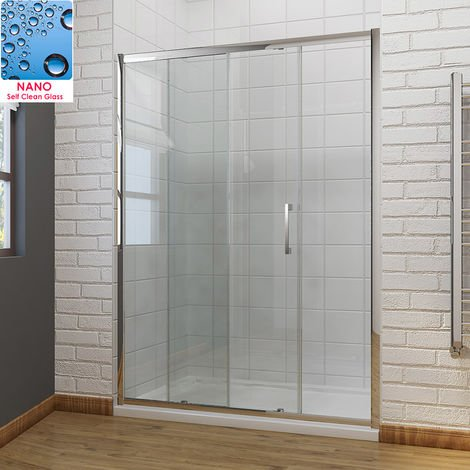 1600 x 700mm Sliding Shower Door Modern Bathroom 8mm Easy Clean Glass Shower Enclosure Cubicle Door with Shower Tray and Waste