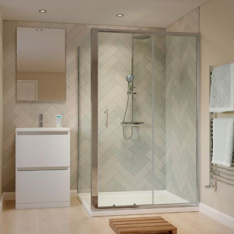 1600 X 800mm Sliding Door Shower Enclosure With Tray And Waste