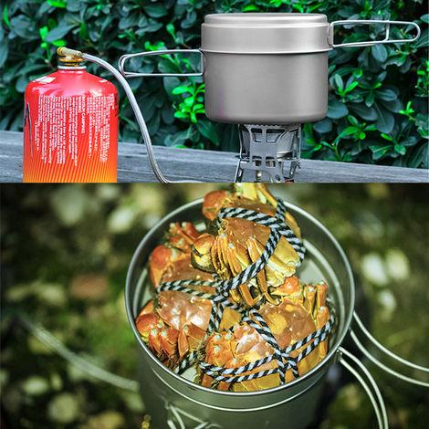 1600ml titanio Pot Set Pan superligero de camping Juego de utensilios de cocina portatil Herramienta con mango plegable