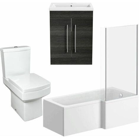 1600mm Bathroom Suite L Shape RH Bath Screen Vanity Unit Basin Toilet Modern